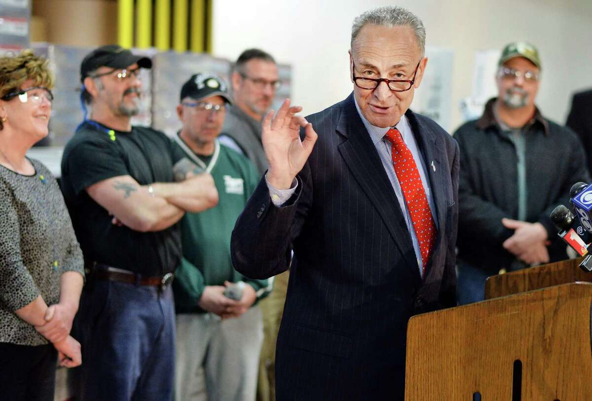 U.S. Senator Charles Schumer speaks during a visit to Finch Paper Tuesday, Feb. 17, 2015, in Glens Falls, N.Y. (John Carl D'Annibale / Times Union)