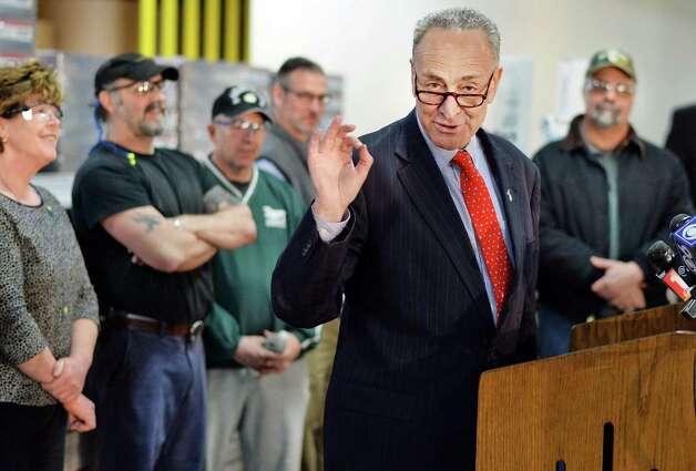 U.S. Senator Charles Schumer speaks during a visit to Finch Paper Tuesday, Feb. 17, 2015, in Glens Falls, N.Y.  (John Carl D'Annibale / Times Union) Photo: John Carl D'Annibale / 00030645A