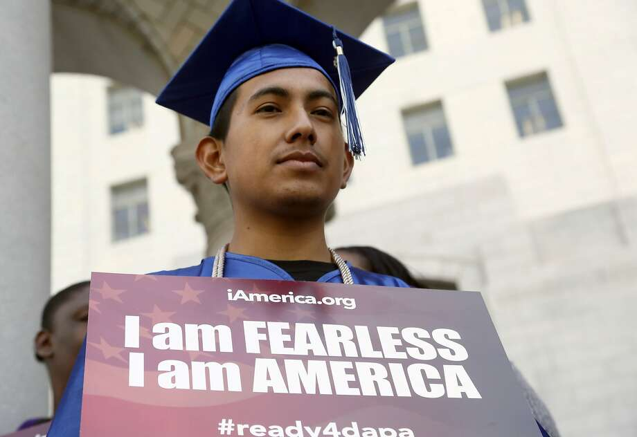 Immigrant Jose Montes attends an event on Deferred Action for Childhood Arrivals, DACA and Deferred Action for Parental Accountability, DAPA, part of the  immigration relief program, downtown Los Angeles Tuesday, Feb. 17, 2015. The White House promised an appeal Tuesday after a federal judge in Texas temporarily blocked President Barack Obama's executive action on immigration and gave a coalition of 26 states time to pursue a lawsuit aiming to permanently stop the orders. (AP Photo/Nick Ut) Photo: Nick Ut, Associated Press