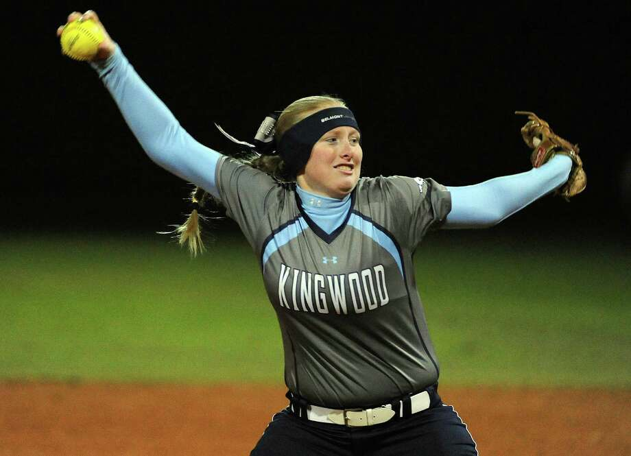 Kingwood's Ashley Johnson delivers a pitch during the fourth inning of a high school softball game against Klein Collins, Tuesday, February 17, 2015, at Kingwood High School in Kingwood, TX. Photo: Eric Christian Smith, For The Chronicle / 2015 Eric Christian Smith