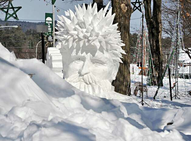 A snow sculpture by Peter Vogelaar and Glenn Durlacher during the First Annual Lake George Snow Sculpture Contest in Shepard Park Tuesday Feb. 17, 2015 in Lake George, NY.  (John Carl D'Annibale / Times Union) Photo: John Carl D'Annibale / 00030637A
