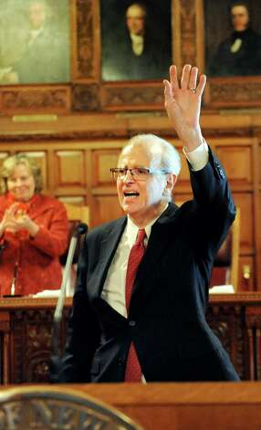 Chief Judge Jonathan Lippman acknowledges the audience after he delivers the State of the Judiciary on Tuesday, Feb. 17, 2015, at the Court of Appeals in Albany, N.Y. (Cindy Schultz / Times Union) Photo: Cindy Schultz / 00030651A