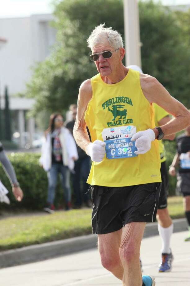 Bob Hoekman, a 73-year-old retired orthopedic surgeon, finished first in his age division at his 27th consecutive Chevron Houston Marathon.