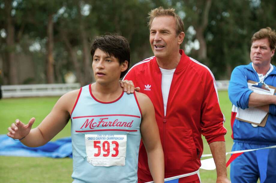 "Carlos Pratts, who grew up in The Woodlands, and Kevin Costner star in ""McFarland, USA"" Photo: -- / ?Disney Enterprises, Inc. All Rights Reserved.."