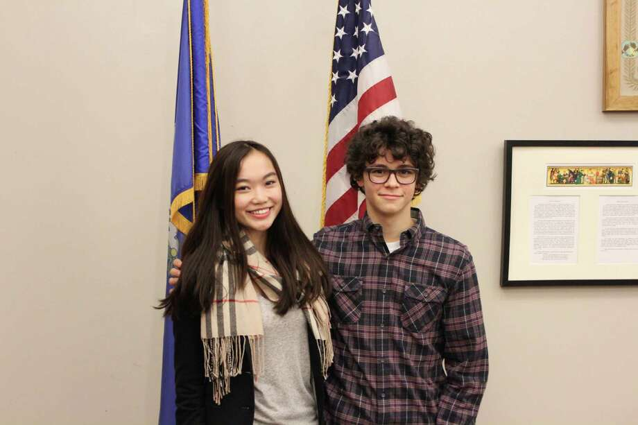 New Canaan High School seniors Veronica Ma and Charlie Sosnick have been selected to represent Connecticut in the  2015 US Senate Youth Program, sponsored by the Hearst Foundation. As delegates, they will be traveling to Washington for a week and meeting with the President, Supreme Court Justices, Senators and Congressman, and more. It is the first time in recent memory that both student delegates come from the same school. Photo: Contributed Photo / Greenwich Time Contributed