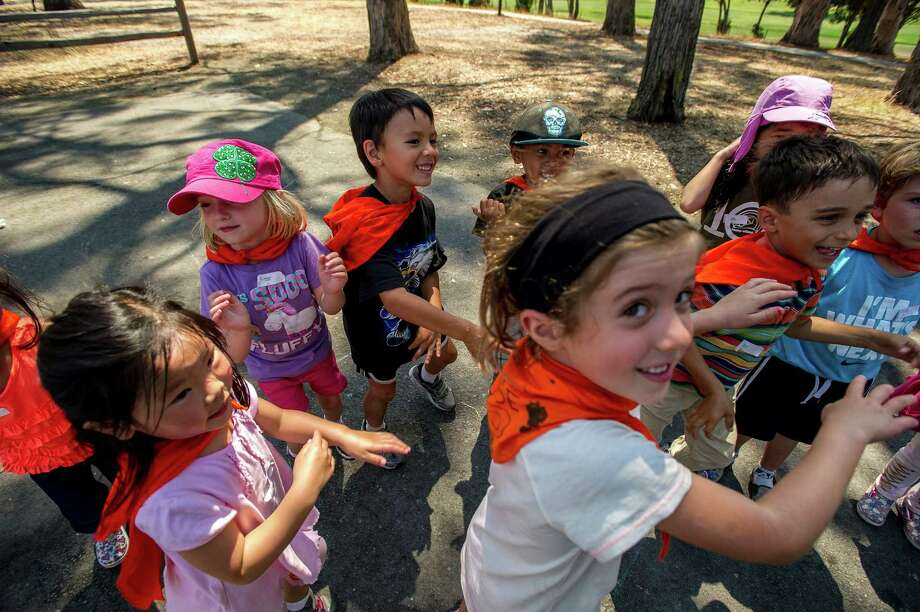 Children dance to help their circulation during the science-based Camp Edmo at Coyote Point in San Mateo. Photo: Dan Evans / ONLINE_CHECK