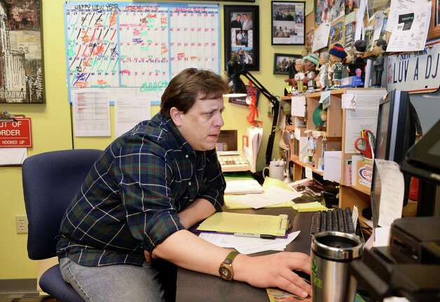 Siena radio station WVCR's general manager Darrin Kibbey  in his office in the Sarazen Student Union on the Siena campus Thursday Jan. 29, 2015, in Colonie, NY.  (John Carl D'Annibale / Times Union) Photo: John Carl D'Annibale / 00030361A