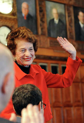Former Chief Judge Judith Kaye acknowledges the audience during the State of the Judiciary address on Tuesday, Feb. 17, 2015, at the Court of Appeals in Albany, N.Y. (Cindy Schultz / Times Union) Photo: Cindy Schultz, Albany Times Union / 00030651A