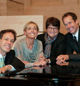 "Jake Heggie (left), Nicole Paiement, Sister Helen Prejean and Brian Staufenbiel at a preview of Heggie's opera ""Dead Man Walking."""