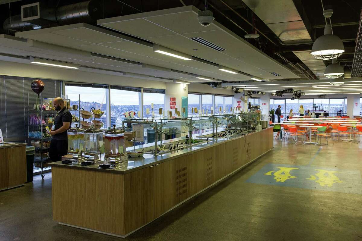 Views of the cafeteria and surrounding vistas as seen inside Facebook's offices Wednesday, February 18, 2015, in downtown Seattle, Washington.