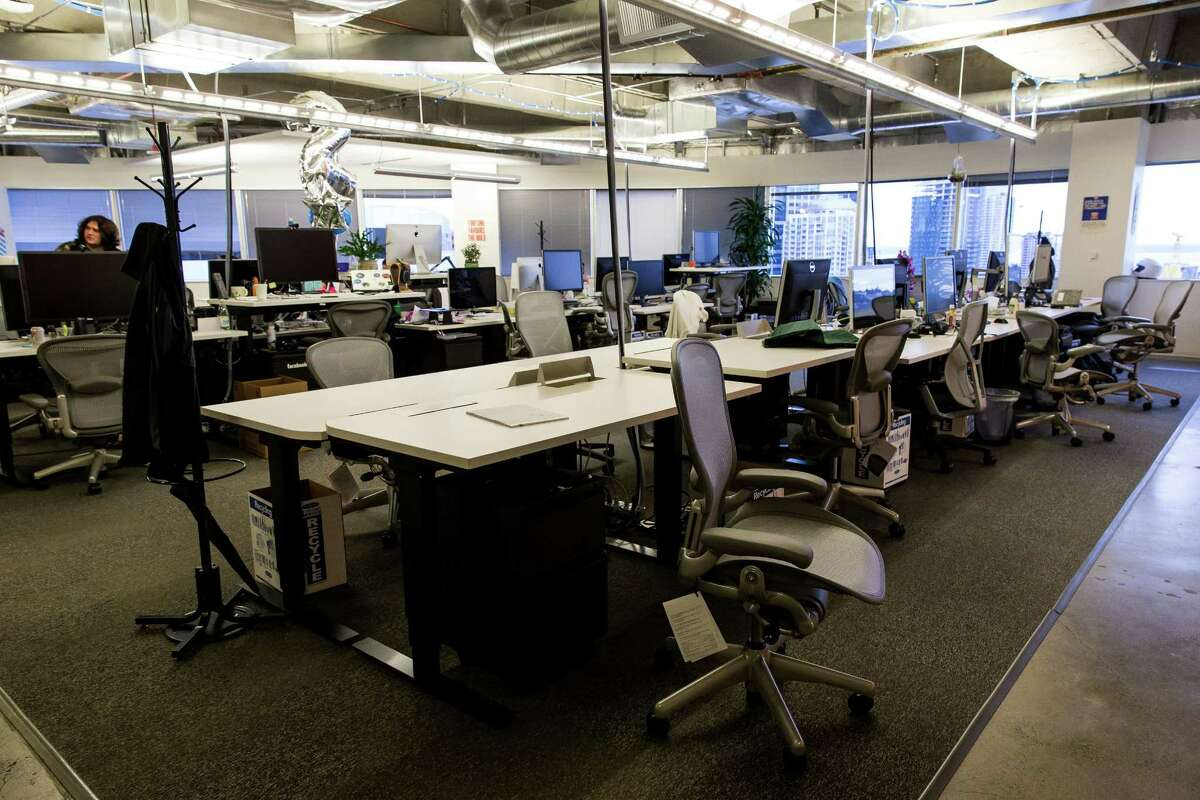 Workspaces as seen inside Facebook's offices Wednesday, February 18, 2015, in downtown Seattle, Washington.