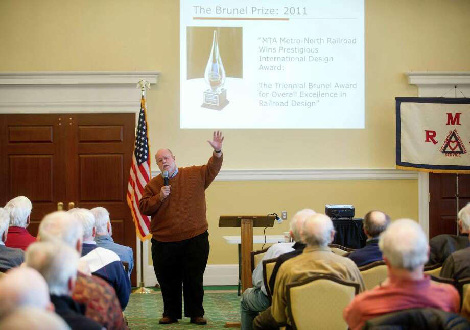 Jim Cameron, founder of the Commuter Action Group, speaks to the Retired Men's Association at First Presbyterian Church in Greenwich, Conn., on Wednesday, February 18, 2015. Photo: Lindsay Perry / Stamford Advocate