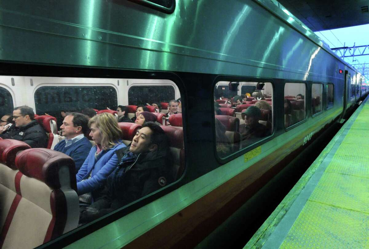 Passengers on board a Metro-North train at the Stamford Train Station, Conn., Thursday, Feb. 5, 2015. A massive long-term investment in Connecticut's transportation infrastructure is the centerpiece of Gov. Dannel P. Malloy's budget,