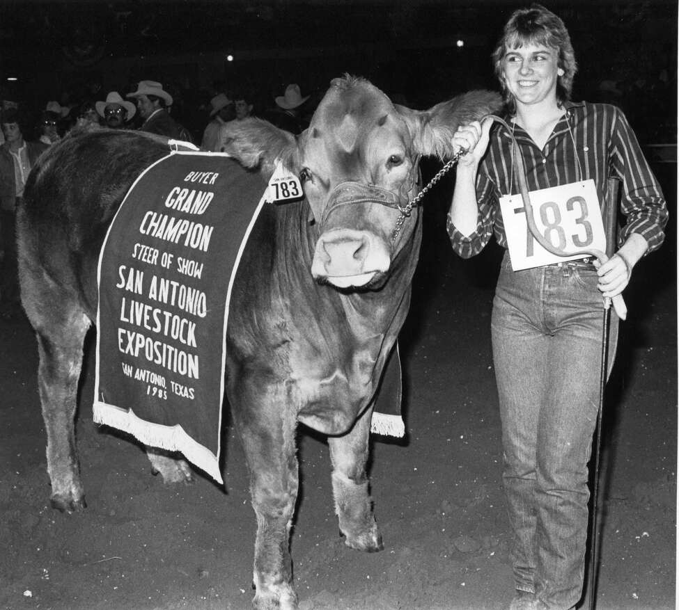 Suzanne Stewman from Sweetwater, Texas with her 1985 grand champion steer