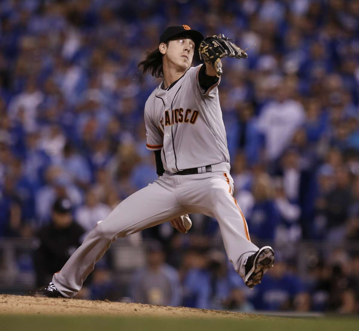 Giants Tim Lincecum pitches in the seventh inning during Game 2 of the World Series at Kauffman Stadium on Wednesday, Oct. 22, 2014 in Kansas City, Mo.