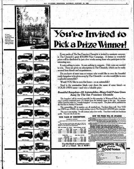 A 1922 subscription contest in the San Francisco Chronicle, for which a house and several cars were offered as prizes. Photo: Chronicle File / ONLINE_YES