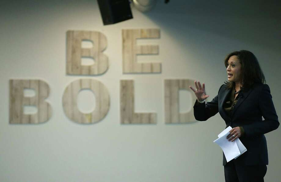 California Attorney General Kamala Harris delivers a keynote address during a Safer Internet Day event at Facebook headquarters on Feb. 10. Photo: Justin Sullivan / Getty Images / 2015 Getty Images
