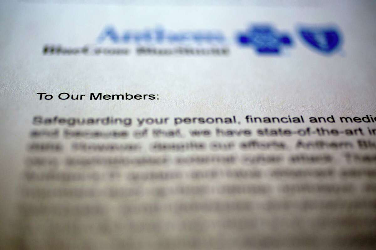 Shown is a copy of an email sent to Anthem Inc. plan members notifying them of a cyberattack.