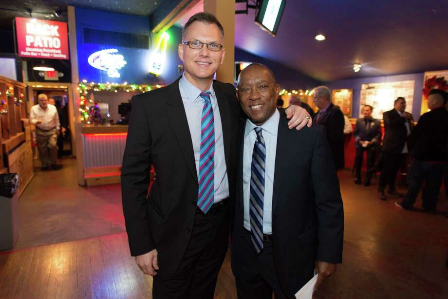 Harris County Democratic Party Chairman Lane Lewis and state Rep. and future-Mayor Sylvester Turner in 2014. Photo: Jamaal Ellis, Freelance / ©2014 Houston Chronicle