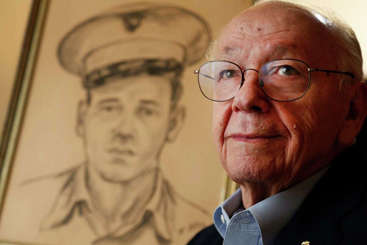 A drawing of himself as a young Marine is rendered in sepia tones, but Bill Sherrill has vivid, full-color memories of the battle of Iwo Jima and the successful life he went on to enjoy back home in Houston.