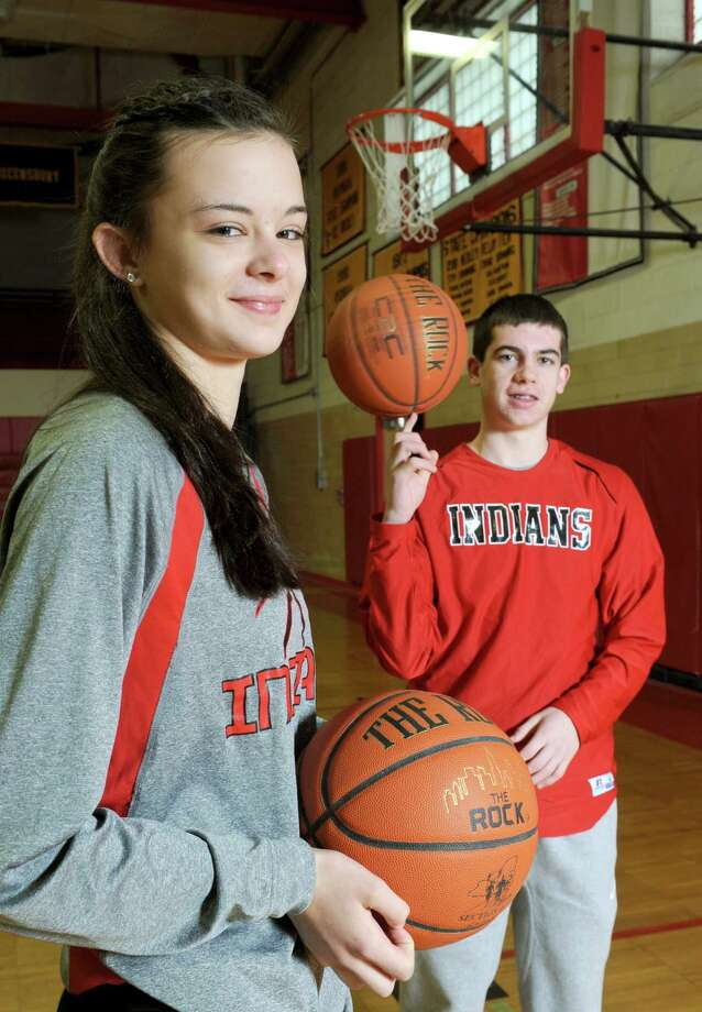 Glens Falls eighth grade basketball players Sophie Tougas and Joe Girard on Saturday Feb. 14, 2015 in Glens Falls, N.Y. (Michael P. Farrell/Times Union) Photo: Michael P. Farrell / 00030611A