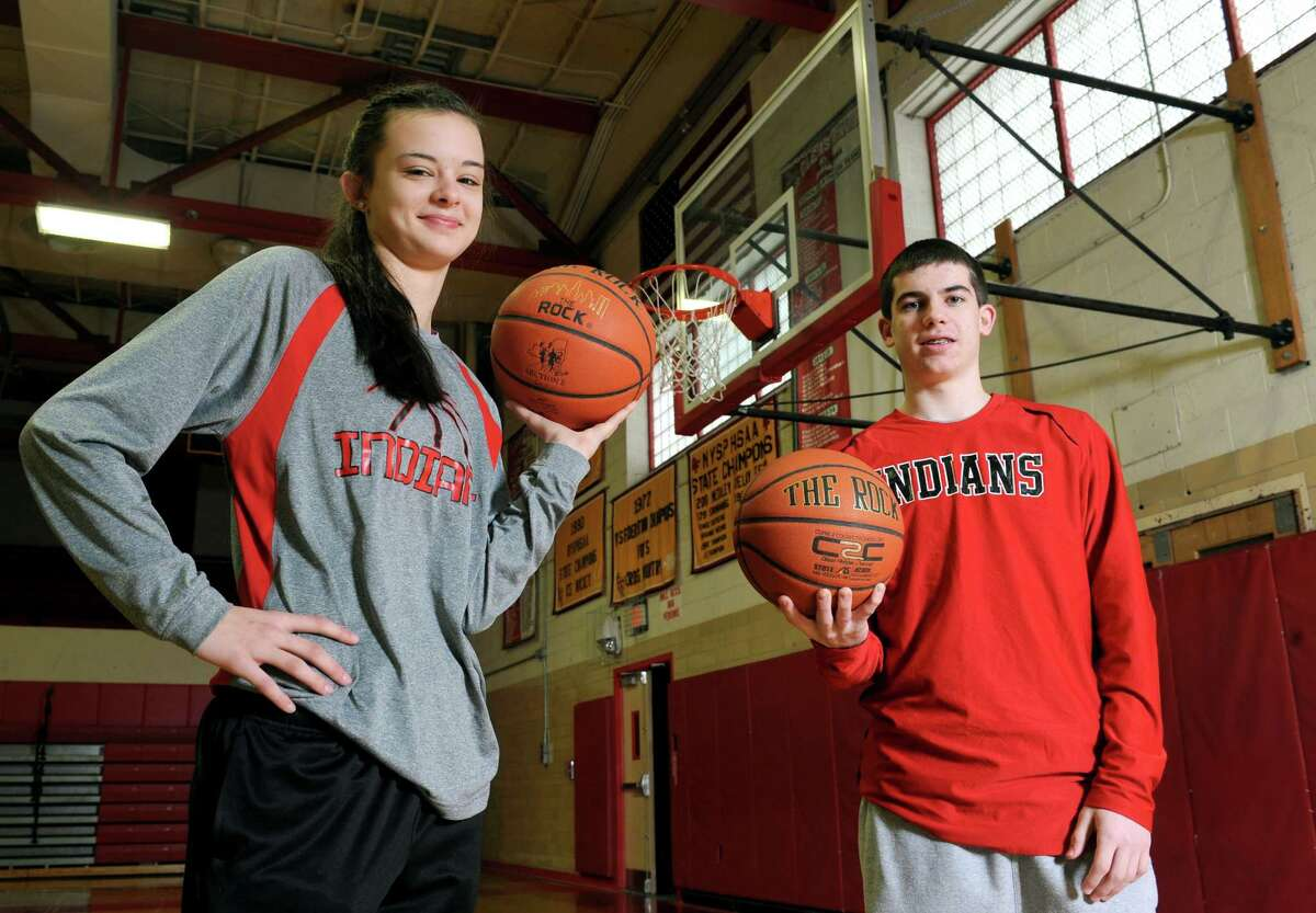 Glens Falls eighth grade basketball players Sophie Tougas and Joe Girard on Saturday Feb. 14, 2015 in Glens Falls, N.Y. (Michael P. Farrell/Times Union)