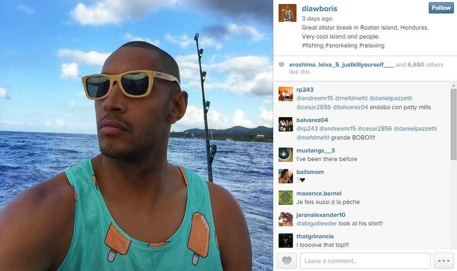 Boris Diaw: He used the time off for some rest and recuperation, finding refuge from the cold in beautiful Roatan, Honduras. According to his Instagram accoint, he fished, snorkeled in the pristine Honduran reefs and sported some funky gear while doing it. Photo: Mendoza,  Madalyn S, Twitter.com
