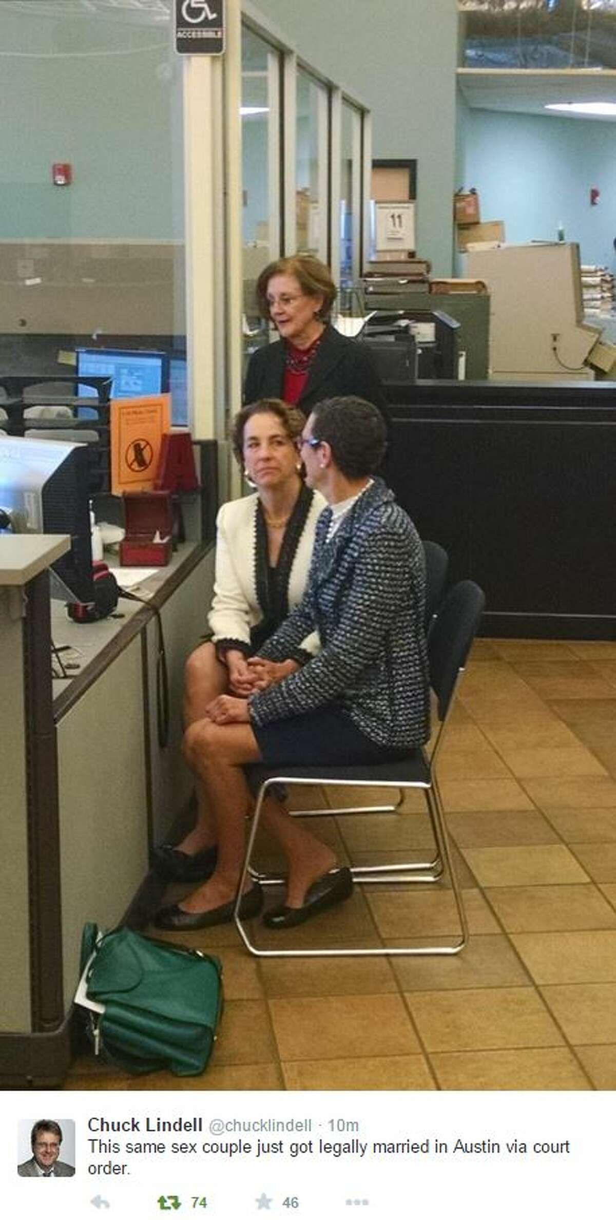 A same-sex couple in Austin has legally married through a court order, according to media reports. Photos tweeted by Chuck Lindell, a reporter for the Austin American-Statesman, show Suzanne Bryant and Sarah Goodfriend posing with a marriage license Thursday morning at the Travis County Clerk's office.