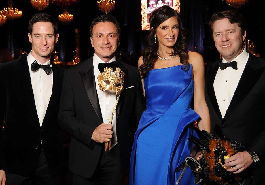 """From left: Chairs Henry Richardson, Monsieur Taghsidi, Melissa Mithoff and Michael Mithoff at the """"The Masked Ball"""" A Tribute to Romeo and Juliet, the 2015 Houston Ballet Ball at the Wortham Theater Wednesday Feb. 18,2015.(Dave Rossman Photo) Photo: For The Chronicle"""