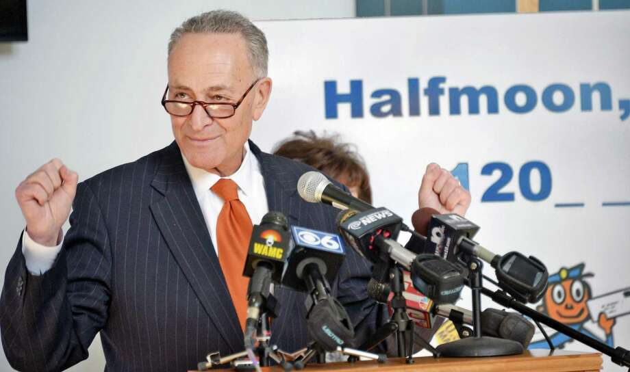 U.S. Senator Charles Schumer, announces the push to secure a  zip code for Halfmoon is announced at Halfmoon Town Hall Wednesday, Feb. 18, 2015, in Halfmoon, NY. The Town of Halfmoon is currently is split among four different towns' zip codes. (John Carl D'Annibale / Times Union) Photo: John Carl D'Annibale / 00030669A