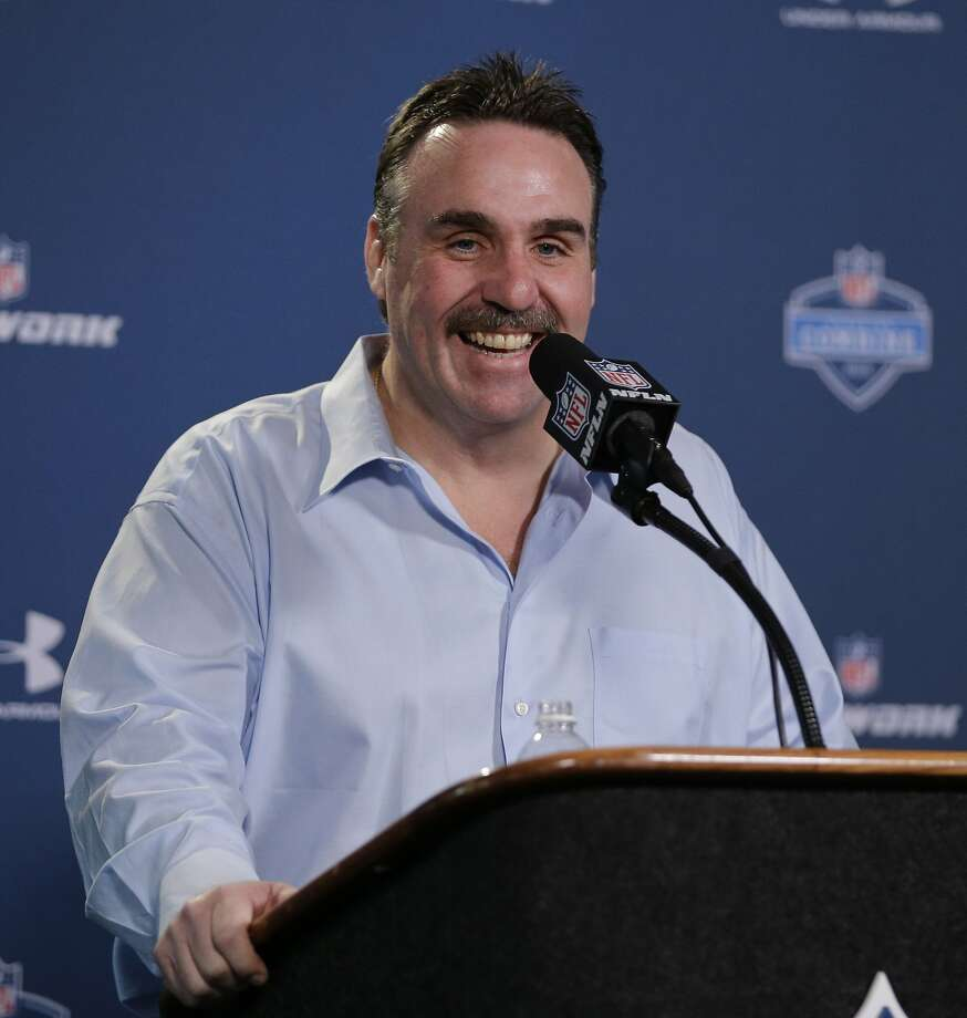 San Francisco 49ers coach Jim Tomsula answers a question during a news conference at the NFL football scouting combine in Indianapolis, Thursday, Feb. 19, 2015. (AP Photo/David J. Phillip) Photo: David J. Phillip, Associated Press
