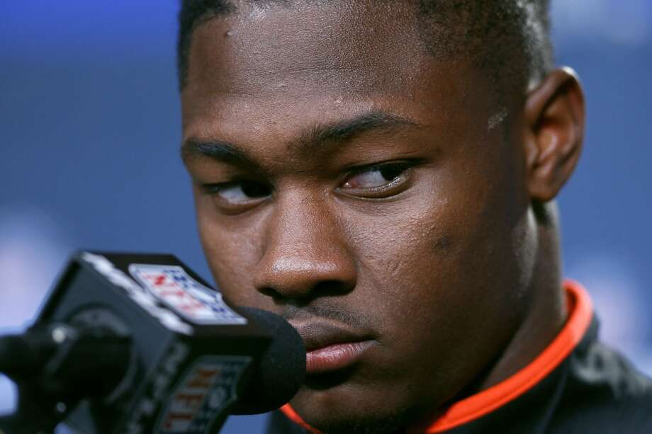INDIANAPOLIS, IN - FEBRUARY 19: Wide receiver Stefon Diggs of Maryland reacts to a question from the media during the 2015 NFL Scouting Combine at Lucas Oil Stadium on February 19, 2015 in Indianapolis, Indiana. (Photo by Joe Robbins/Getty Images) Photo: Getty Images