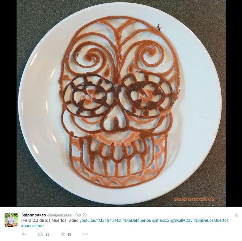Painters use brushes but Nathan Shields, of Saipancakes, uses a spatula to create edible pancake art.