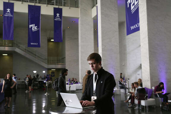 Chip Beck, a 16-year-old developer from Pennsylvania, visits the Yahoo Mobile Developer Conference at the Masonic Center.