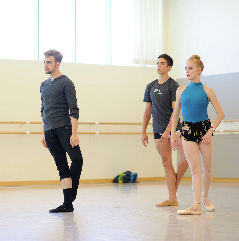 S.F. Ballet corps member Myles Thatcher (left) rehearses corps member Steven Morse and soloist Sasha De Sola in