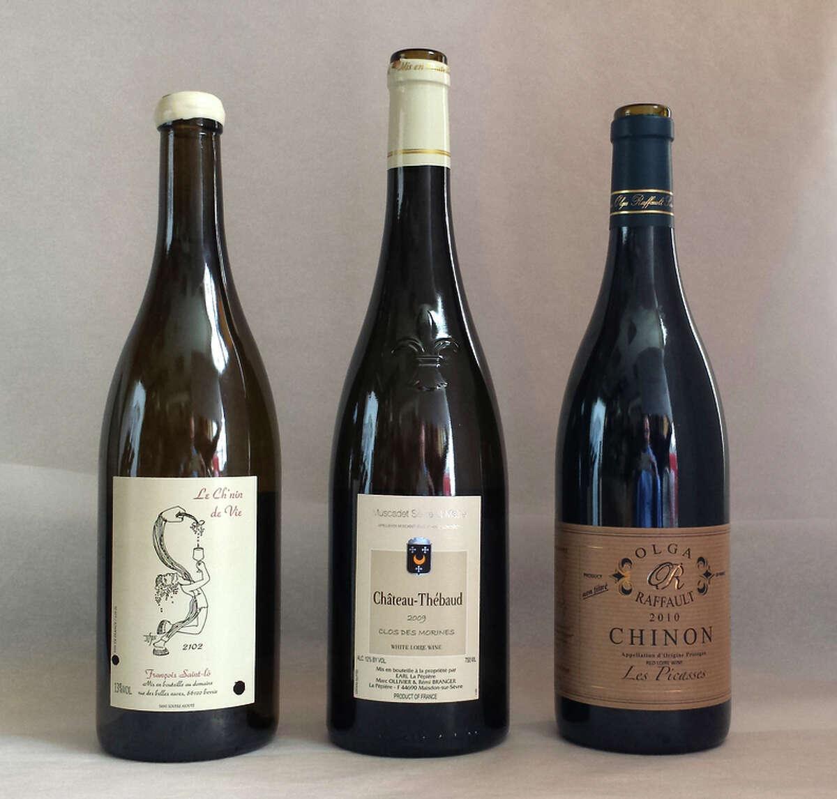 François Saint-Lô Le Ch'nin de Vie 2102 Vin de France; 2009 Domaine de la Pépière Clos des Morines Muscadet; and 2010 Olga Raffault Les Picasses Chinon