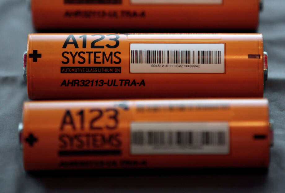 Some A123 batteries in 2009, the year it received a $249 million grant from the Department of Energy. Photo: Paul Sancya / Associated Press / AP