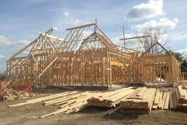 A house under construction in Sedona Lakes, a master-planned community along County Road 101 just east of Texas 288 in Manvel.