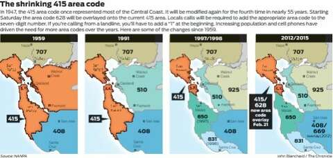 415, meet 628: New S.F. area code debuts Saay - SFGate  Area Code Map on moraga california map, 925 area code of us, california area map, zip code map,