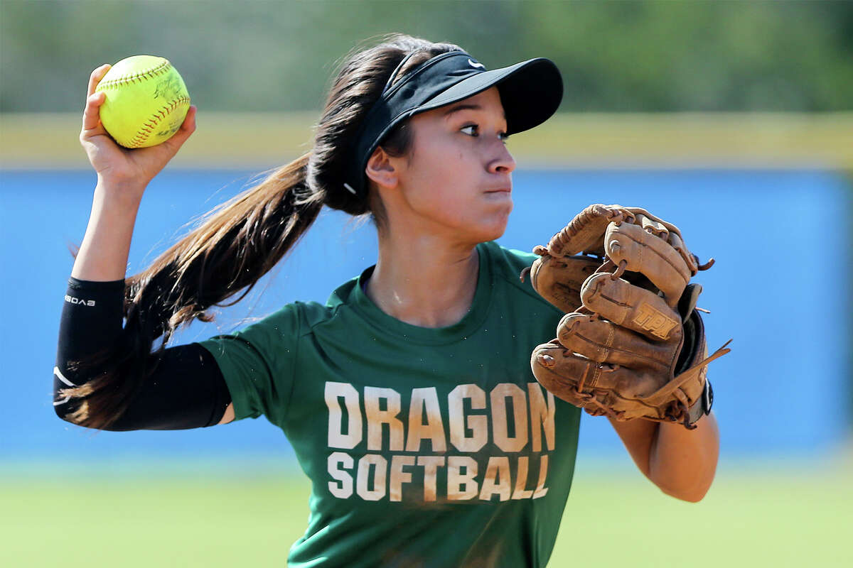 Southwest shortstop Kristal Salinas throws to first base during a scrimmage with O'Connor at New Braunfels High School on Saturday, Feb. 14, 2015.