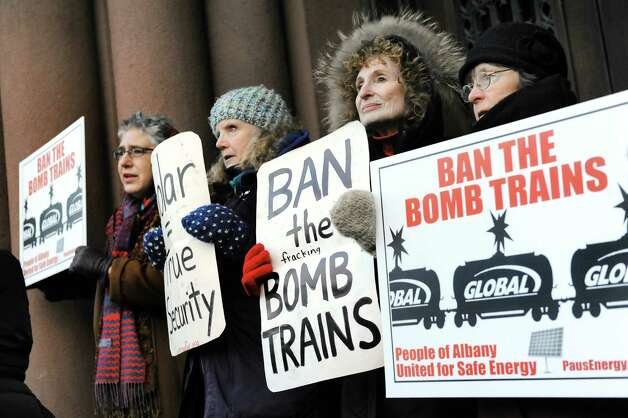 Advocates call for the Common Council to support an oil train ban on Thursday, Feb. 19, 2015, at City Hall in Albany, N.Y. (Cindy Schultz / Times Union) Photo: Cindy Schultz / 00030683A