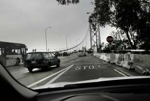 The west bound on-ramp from Treasure Island onto the Bay Bridge is one of the shortest freeway on-ramps in the Bay Area as seen on  Wed. Feb. 18, 2015 in San Francisco, Ca.