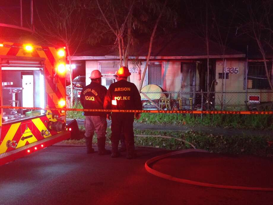 A firefighter was taken to the hospital on Thursday after a home blaze in the 6400 block of England. Photo: Mike Glenn, Chronicle