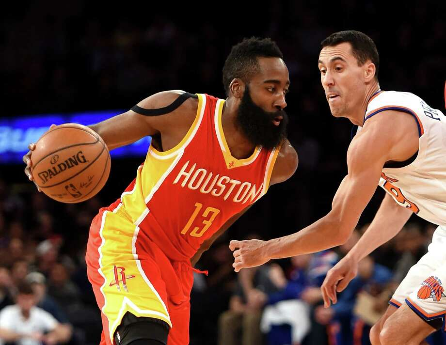 Pablo Prigioni, right, will enjoy watching James Harden blow past those trying to guard him now that they're teammates after Thursday's trade with the Knicks. Photo: Kathy Kmonicek, FRE / FR170189 AP