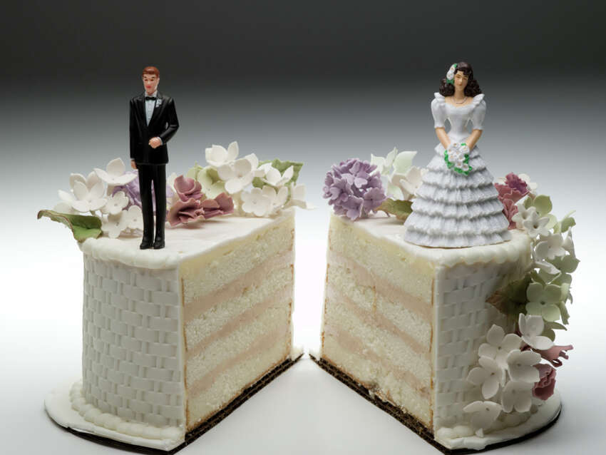 Divorce overall About half of first marriages end in divorce.(Source: CreditDonkey report based on numbers from Centers for Disease Control, U.S. Census Bureau, American Academy of Matrimonial Lawyers and the American Sociological Association.)