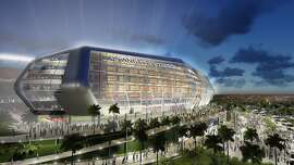 An architectural rendering a new NFL football stadium that was proposed by the owners of the Oakland Raiders and San Diego Chargers, which would be located in Carson, California.