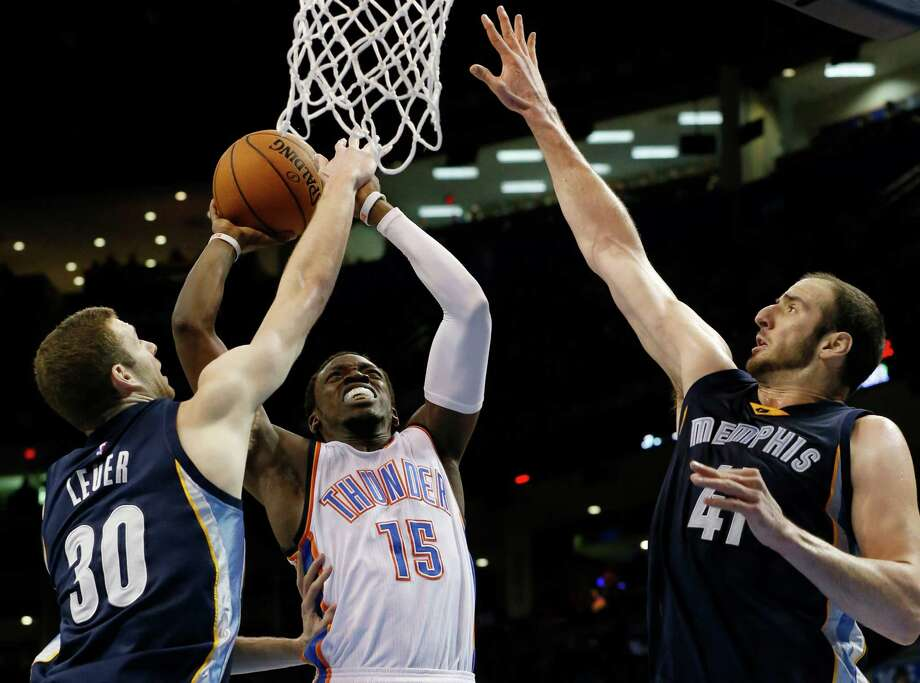 Guard Reggie Jackson (15), shooting against Memphis earlier this month, was unhappy in his backup role with the Thunder and was traded to Detroit, where he should start with regular point guard Brandon Jennings out for the season. Photo: Sue Ogrocki / Associated Press / AP