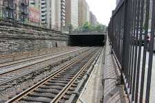 Railroad tracks heading into the Park Avenue tunnel on the way to Grand Central Terminal.