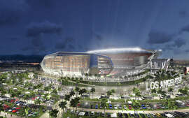 An architectural rendering of a new NFL football stadium that was proposed by the owners of the Oakland Raiders and San Diego Chargers for Carson.
