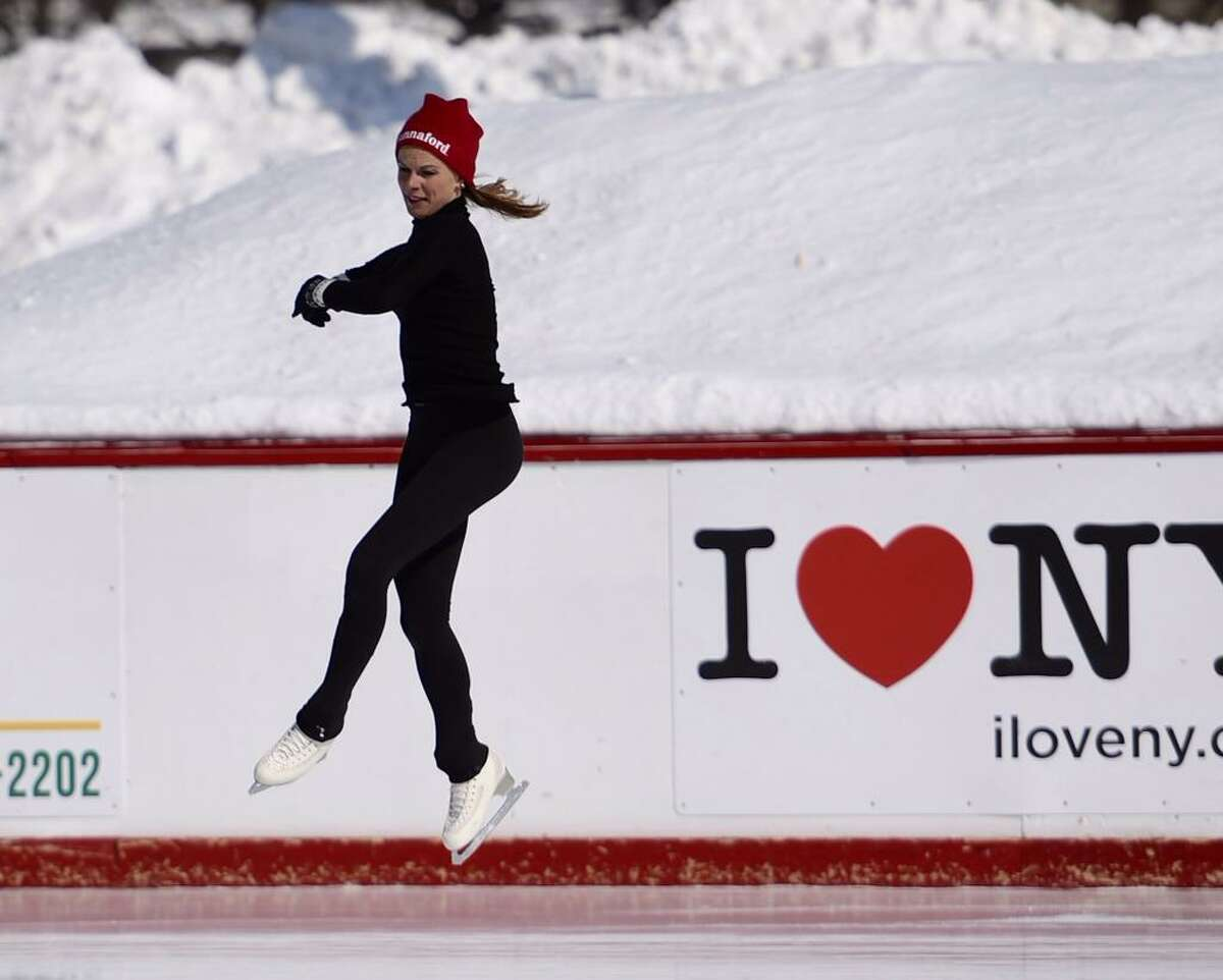 Olympic gold medalist Ekaterina Gordeeva skates Friday at the Empire State Plaza Ice Rink. Gordeeva started staking at about 11 a.m. and was expected to remain at the rink until 1 p.m. (Skip Dickstein / Times Union)